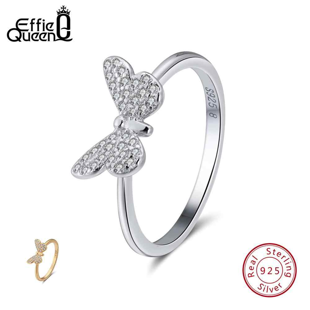Effie Queen Real 925 Sterling Silver Rings For Women Butterfly Shape With AAA Zircon Silver/Gold-color Ring Female Jewelry BR59