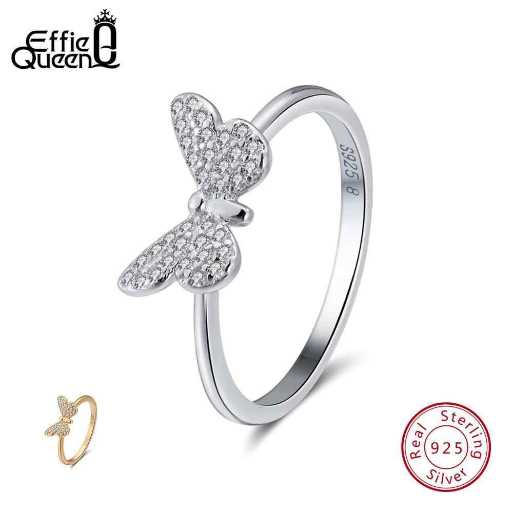 Effie Queen Nyata 925 Sterling Silver Cincin untuk Wanita Butterfly Bentuk AAA Zircon Silver Warna Emas Cincin wanita Perhiasan BR59