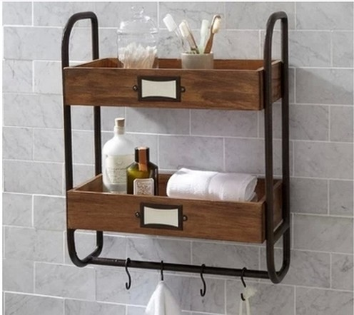 American retro industrial piping bath bathroom towel rack shelf wood ...