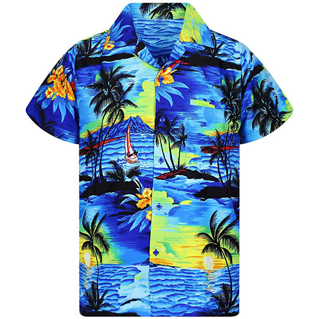 Casual Male Hawaiian Shirts Fashion Men's Casual Button Hawaii Print Beach Short Sleeve Quick Dry Shirt Top Blouse New Arrivals