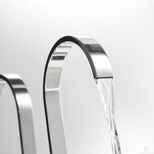 Image 2 - Bacia torneiras de latão polido chrome deck montado quadrado pia do banheiro torneiras 3 buraco dupla alça água quente e fria LT 109