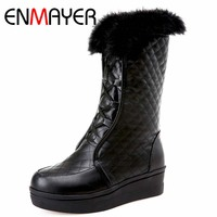 ENMAYER Size 39 Advanced PU Leather Mid Calf Round Toe Height Increasing Lace Up Boots For