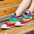 2017 New SIWEIQI Fashion Women Canvas Shoes with Striped Rainbow Color Women Casual Flats Shoes All-match Ankle Shoes for Girls