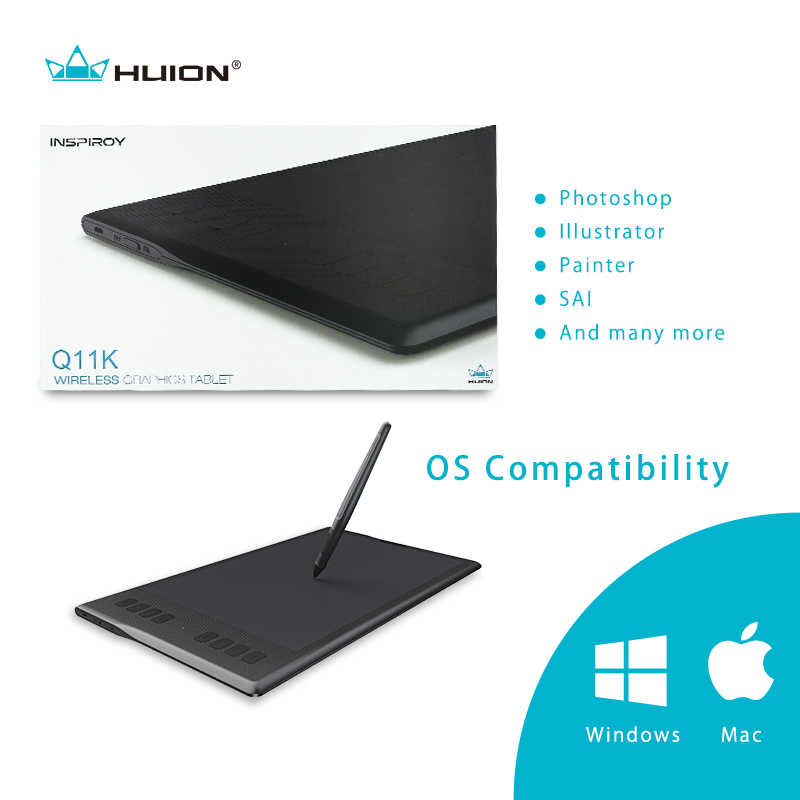 New Huion Inspiroy Q11K Wireless Graphic Drawing Tablet Digital Pen Tablet