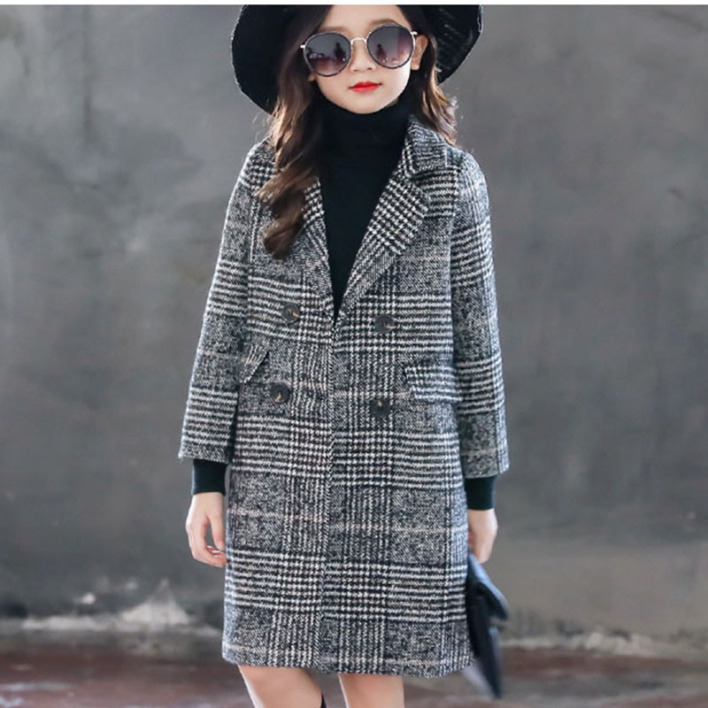 long teenage girls jackets for kids coats winter 2018 plaid double breasted children trend coat thick warm top clothing for teen 2018 new fashion suede lamb wool women coats double breasted warm solid thick long overcoat casual winter cotton jackets female