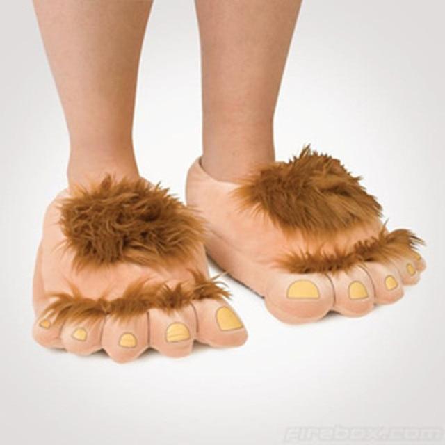 סאבאג 'שעיר ההוביט רגליים גדולות רגליים זוג חורף חם נעלי בית נעלי בית כותנה יצירתי מצחיק כפכפים