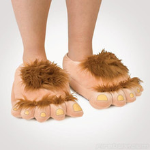 Savage hairy hobbit feet big feet Funny slippers creative cotton slippers couple warm winter home shoes
