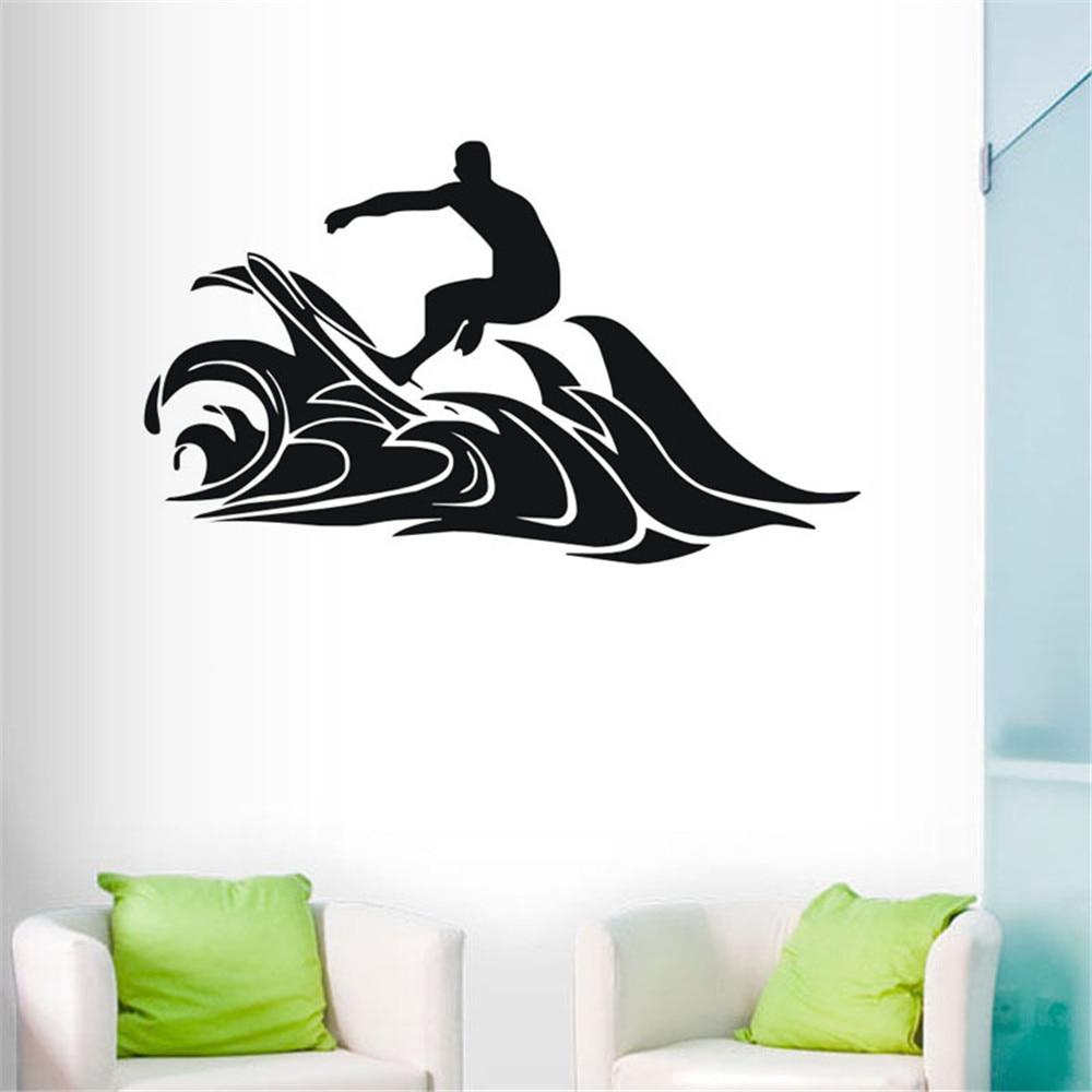 Surfing Bathroom Decor - Hot extreme surf sports wall stickers removable waterproof home decor vinyl art wallpaper custom color kids room bathroom