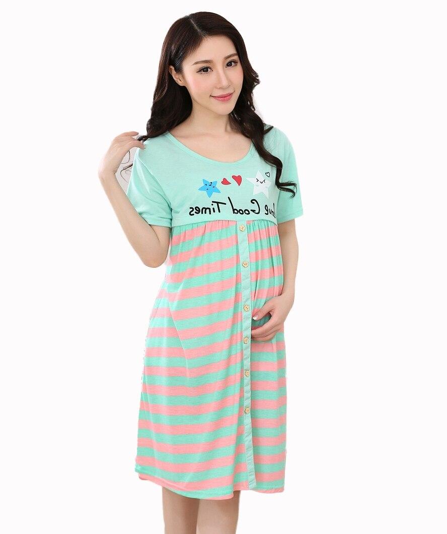 Summer Cartoon Maternity dresses for pregnant women nursing gown ...