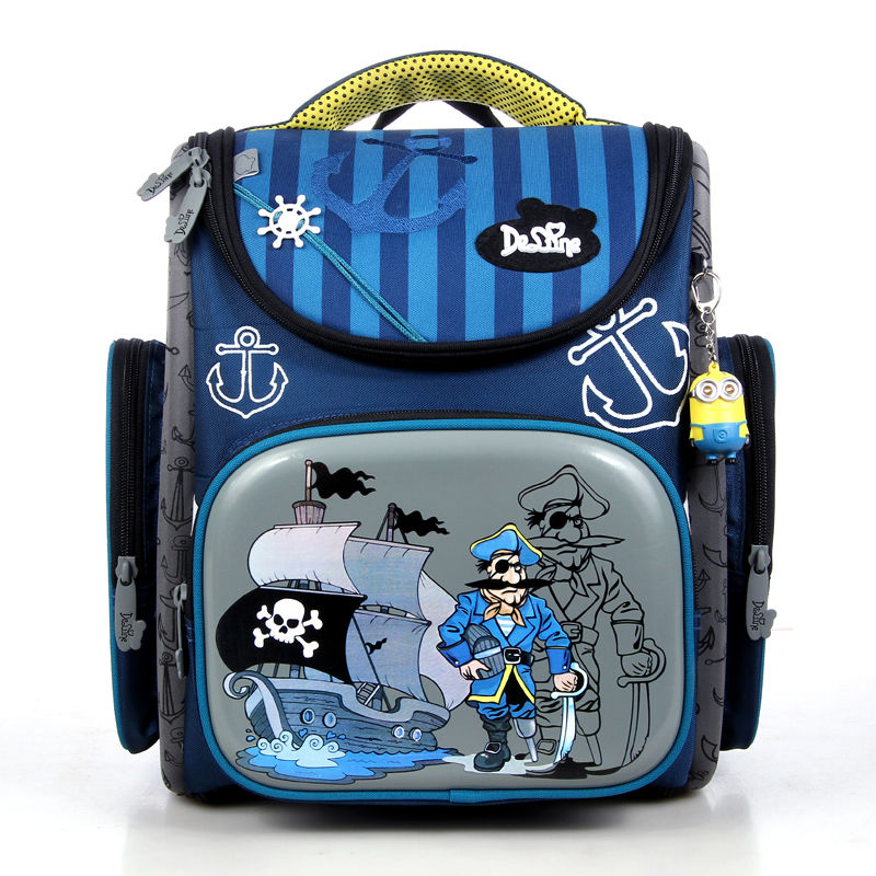 Hot Sale Brand Delune Kids School Bags Pirate Captain Pattern Children Orthopedic Backpacks For Primary School Student Boys 2016 time limited sale school bags orthopedic backpack kids elementary schoolbag children ergonomic primary nylon boy backpacks