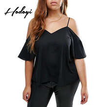 Hodoyi Plus Measurement Stable Informal V-Neck Ladies Shirt Camis Chilly Shoulder Horny Tops Black Free High Tees Massive Measurement 3XL 4XL 5XL 6XL