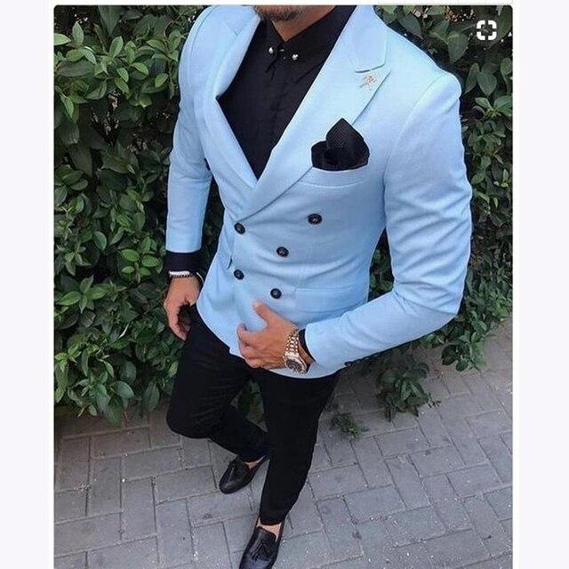 88413d63e Özel Slim Fit 2 Adet Açık Mavi Takım Elbise Erkekler Smokin kruvaze Damat Blazer  erkek Düğün