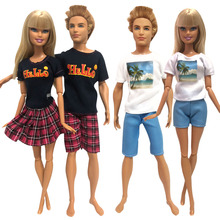 62a1676f21795 NK 4 adet/takım Günlük Rahat Çift Elbise barbie bebek Aksesuarları Erkek  Kız Çift doğum günü hediyesi Için Oyuncak Ken 001A DZ