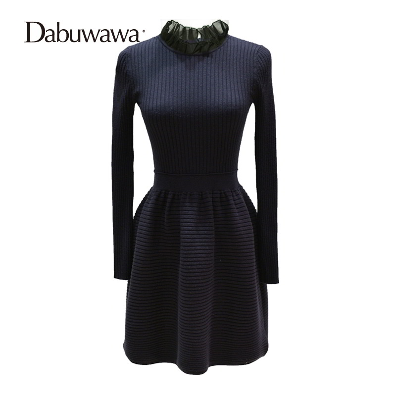 Dabuwawa Autumn Winter Sweater Knitted Dresses Long Sleeve Sheath Fit And Flare Dress Brief Knitted Dress Vestidos #D16DDR019 2017 autumn winter turtleneck sweater dress women sexy hollow out bodycon long sleeve ribbed knitted dresses vestidos