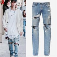 Best God Of Fear Version FOG Men Selvedge Zipper Destroyed Torn Pants Skinny Jeans Blue Jean