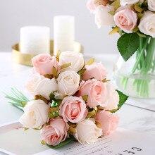 12 unidades/lotes artificial rosa flores bouquet de casamento flores de seda rosa para decoração de casa decoração de festa de casamento falso flor