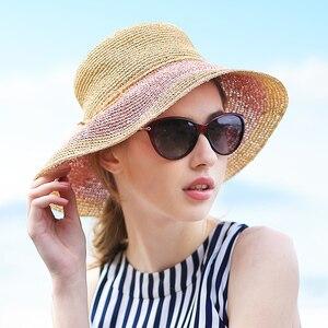 Sedancasesa Fashion Summer Hats for Women Sun Hat Floppy Foldable Wide Brimmed Visors Cap Ladies UV Protection Caps for Girls
