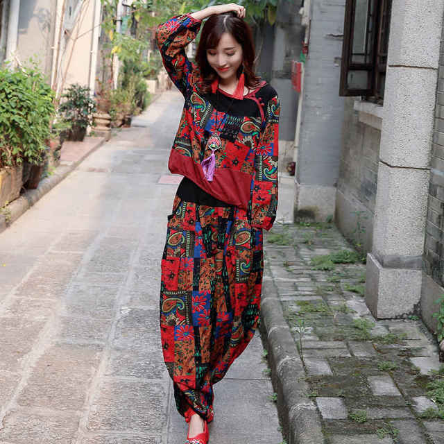 Women Crop Top And Pant Set Spring Autumn Women Suits Cotton Linen Two Piece Set Floral Print Women Clothing Size M-XL