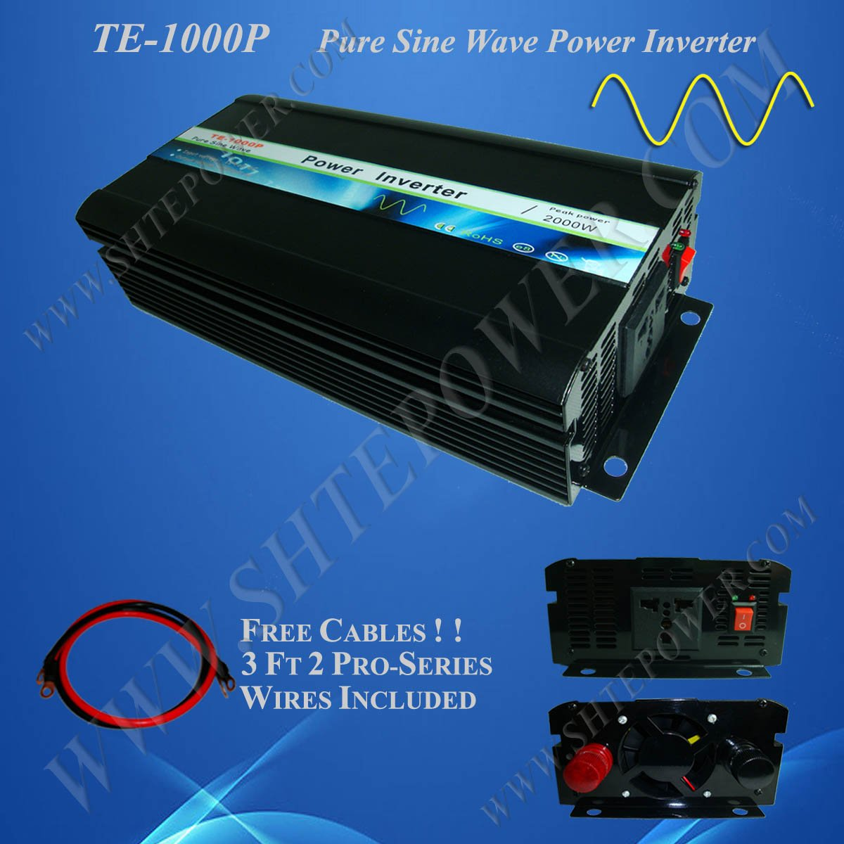 Power inverter DC 12v to AC 230v, 1000w pure sine wave power inverter, CE&RoHS Approved