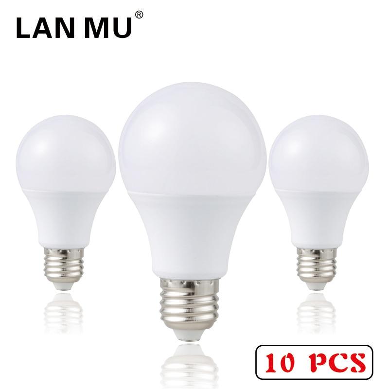 LAN MU 10PCS LED Bulb E27 1W 3W 5W 7W 9W 12W 15W SMD 2835 Real Power Led Light Bulb AC 220V Cold Warm White Led Spotlight Lamp af b07 e27 7w 650lm 6500k 32 smd 2835 led white light bulb white ac 110 250v