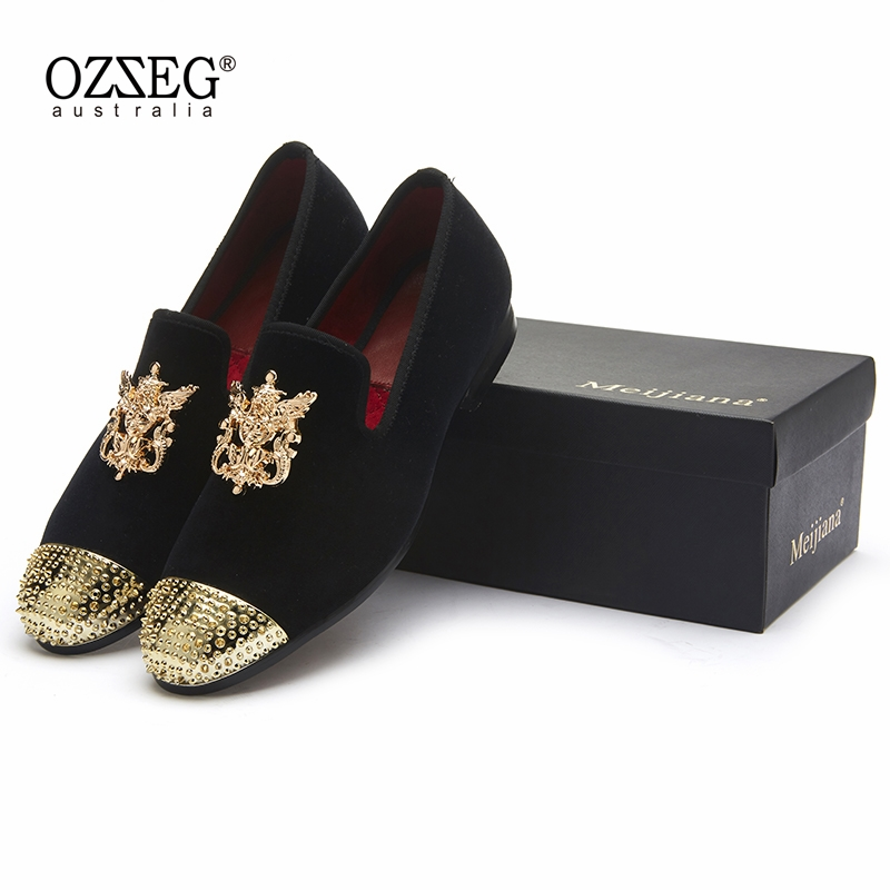 2018 New Fashion Gold Top and Metal Toe Men Velvet Dress shoes italian mens dress shoes Handmade Loafers