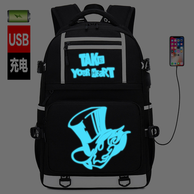 New <font><b>Persona</b></font> <font><b>5</b></font> schoolbag Printing laptop bag Men Travel bags USB Charging knapsack p5 Oxford <font><b>Backpack</b></font> image