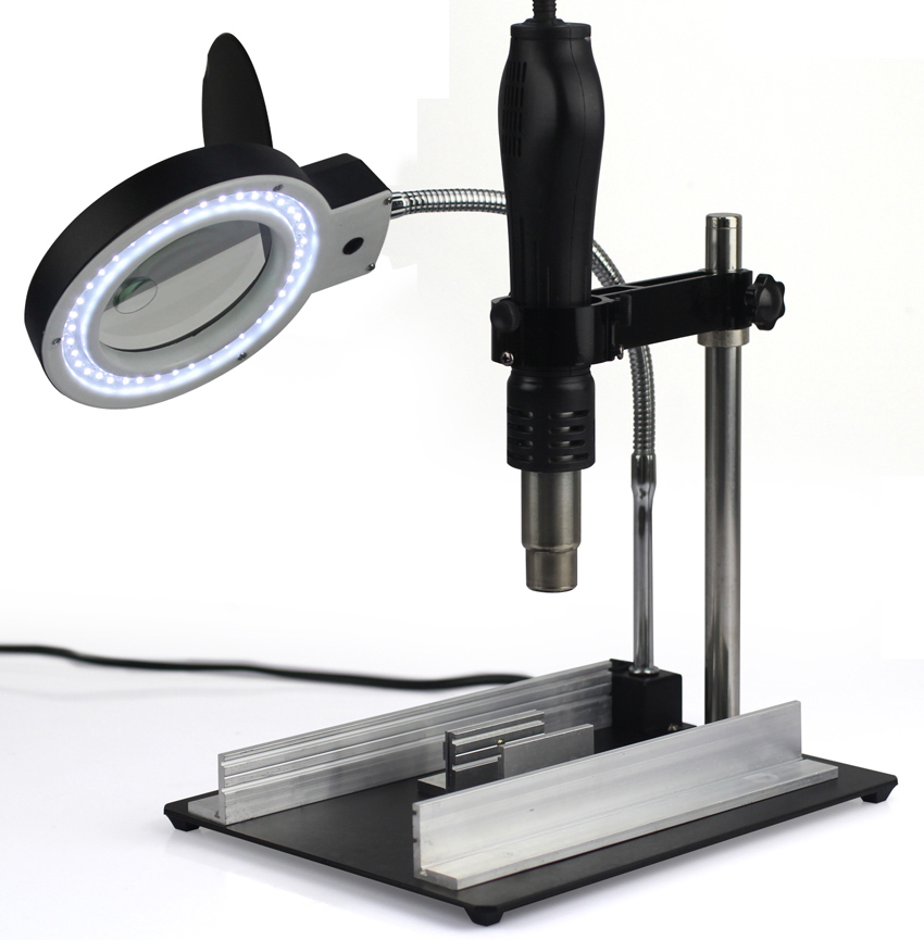 ФОТО Yi Hua YIHUA-628TD 8 times Desktop Magnifier Illuminated LED lights Wind firearms rack holder heating maintenance platform
