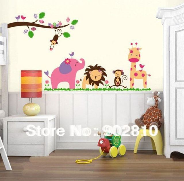 [listed in stock]-Cute Monkey Elephant Giraffe Lion Animal Zoo Wall Sticker Decal Kid Room Nursery