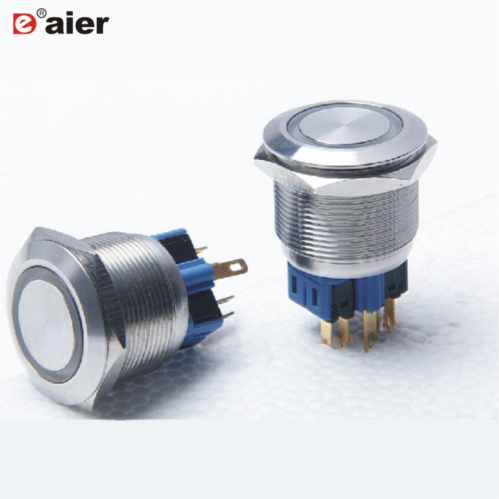 25mm Red Led 12V Stainless Switch Latching Push Button 6 Pins Waterproof 1pcs