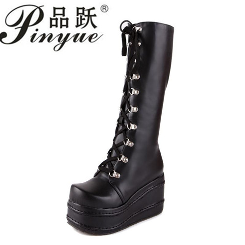 Size 35-43 Botas Mujer Plataforma 2016 Winter Womens Boots Punk Style White Wedge High Heel Boots Lace Up Wedge Platform Boots bamboo womens driven 77 casual wedge