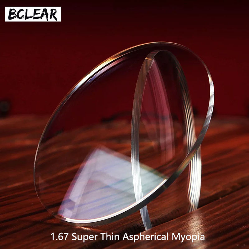 BCLEAR 1.67 Kanta Preskripsi kanta nipis Aspheric Ultra Untuk Mata Myopia HMC EMI UV400 Diopter Nearsighted Shortsighted Hot