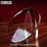 BCLEAR 1.67 Aspheric Ultra Thin Eyeglass Prescription Lenses For Eyes Myopia HMC EMI UV400 Diopter Nearsighted Shortsighted Hot