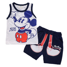 Infant clothes toddler Baby boys Clothing Set Mickey cartoon Sleeveless T-shirt+Shorts suits Kids Fashion Cotton Clothes Sets
