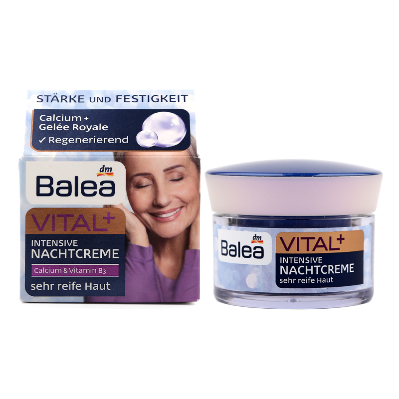 Germany Balea VITAL+ Intensive Night Cream for Old Mature Skin Ages 55+ to 70+ with Calcium Royal Jelly Enhance skin elasticity цены