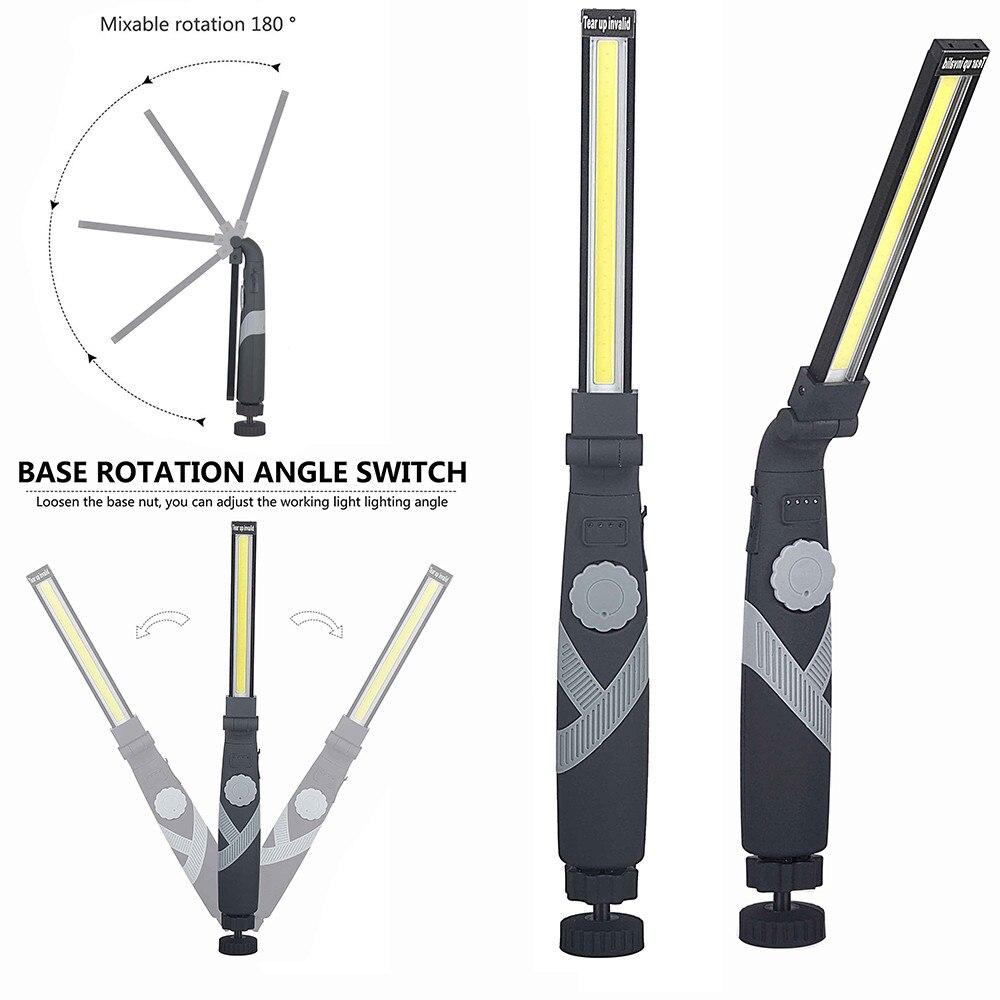 New 180° Portable Focus LED Flashlight Work Light Rechargeable Magnetic Hanging Hook Lamp Camping Car Repair Bar Flashlight Slim