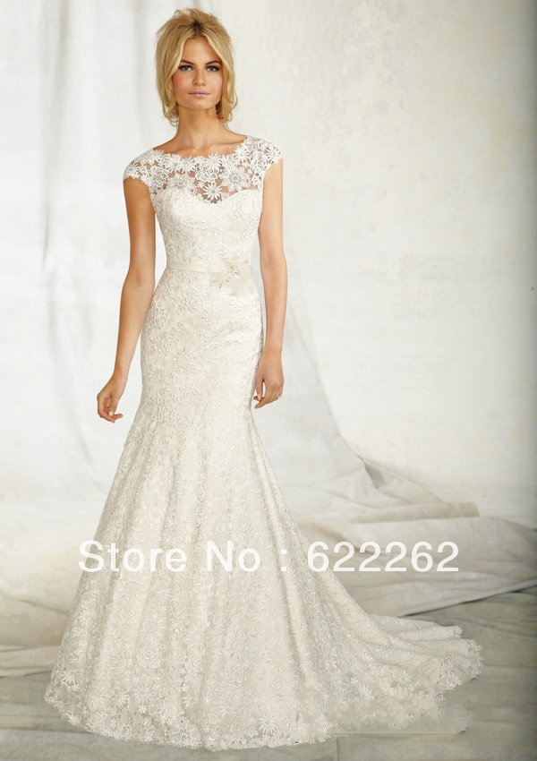 Wonderful Crystal Belt Sleeve Mermaid Full Lace Backless Wedding Dresses Real Sample Sleeveless Low Back In From Weddings Events On