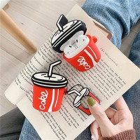 For AirPods Case 3D Cartoon Earphone Cases For Apple Airpods 2 cute Accessories Protect Cover with Finger Ring Strap Soda bottle
