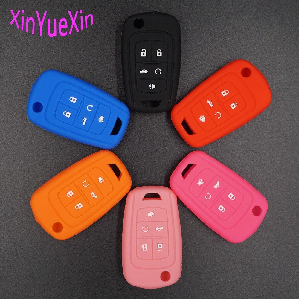 Xinyuexin Silicone Car Key Cover FOB Case For Chevrolet Equinox Camaro AVEO Impala GMC Terrain Flip Remote Key Case Car-styLing