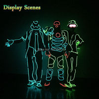 2017 Hot Sales Fashion EL Suits LED Clothes Luminous Costumes Glowing Gloves Shoes Light Clothing Men