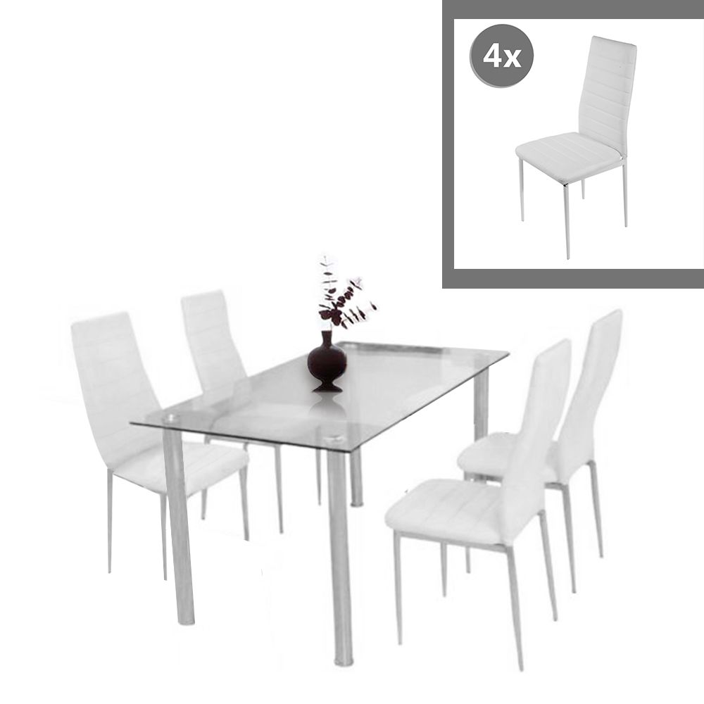 Glass Dining Set Dining Table With 4pcs Dining Chair Faux