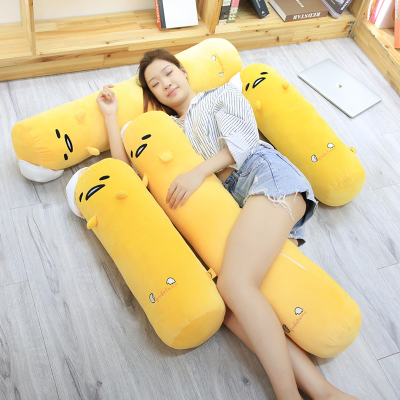 68/110cm Kawaii Long Gudetama Lazy Egg Plush Pillow Stuffed Egg Jun Egg Yolk Brother Toy Doll Cute Soft Bed Pillow Cushion Gift