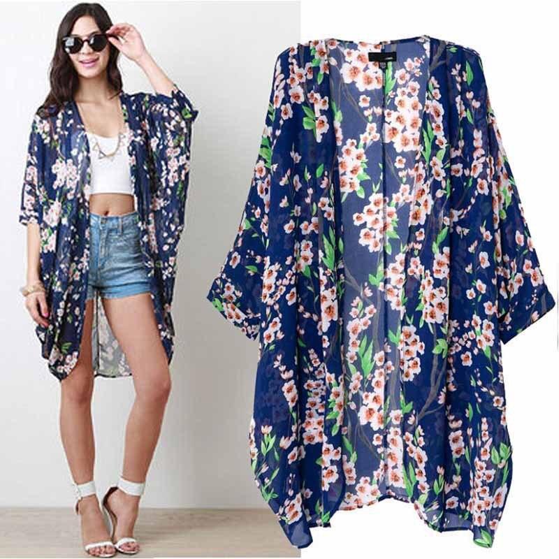 2017 HOT Women Flower Prints Long Chiffon Cardigan Sexy Kimono ...