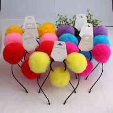 8sets Artificial Rabbit Fur Pompom Hairbands Elastic Hair Bands Wholesale Double Pompom Headbands Cute Girls Accessories pompom