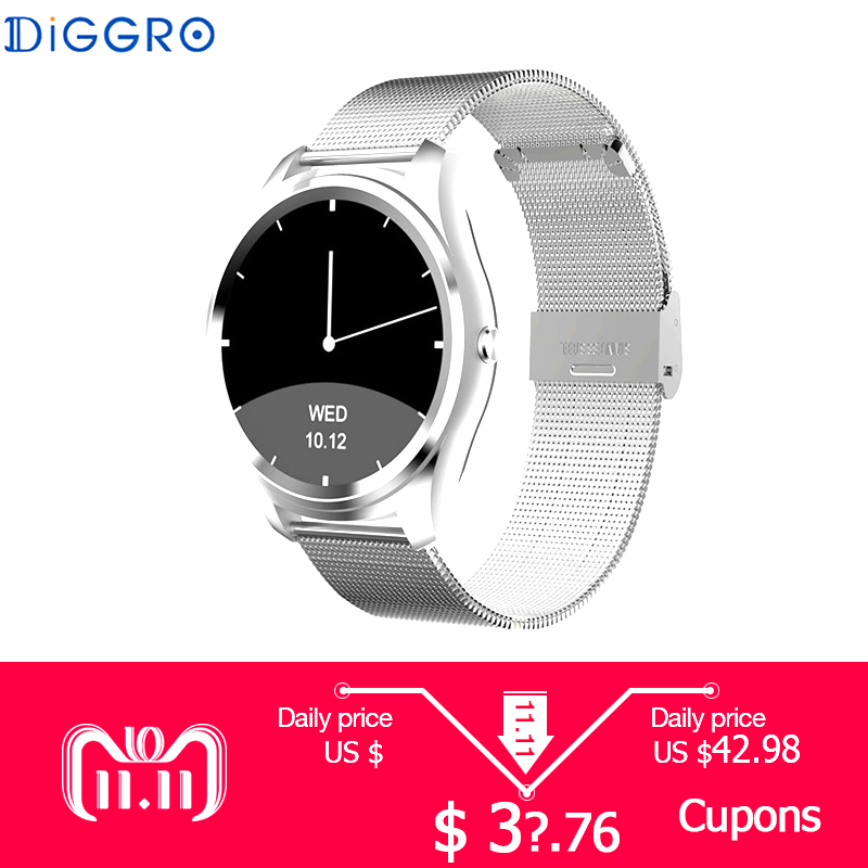 Diggro DI03 Smart Watch Bluetooth 4.0 Heart Rate IP67 Waterproof MTK2502 Call SMS Reminder Pedometer For Android IOS PK K88H di03 smart watch ip67 heart rate monitor bluetooth 3 0 4 0 call sms reminder pedometer smart wrist watch for ios android