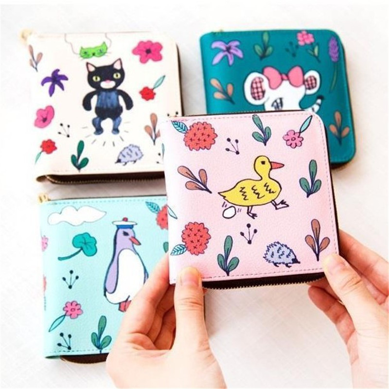 2017 Cute Women elephant Duckling Fruit Printing Wallet PU Leather Phone Pocket Ladies Card Holder Bag Girls Zipper Coin Purse