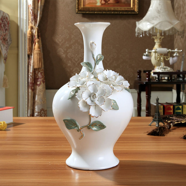 Ceramic Chinese White Modern Flowers Vase Home Decor Large Floor