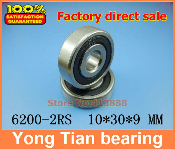 10pcs free shipping double Rubber sealing cover deep groove ball bearing 6200-2RS 10*30*9 mm 10pcs 608 2rs 608rs 608 2rs abec 9 8mm x 22mm x 7mm red double rubber sealing cover deep groove ball bearing 1733 10