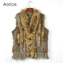 C704 продажи Бесплатная доставка Женская Природный реальная кроличий мех жилет с мехом енота жилет/куртки кролик зимнее вязаное