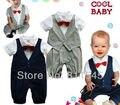 Lindo de una pieza del bebé del mameluco del caballero traje pajarita infantil Kid mono para el niño del niño en general 2015 del verano recién nacido Bebe ropa