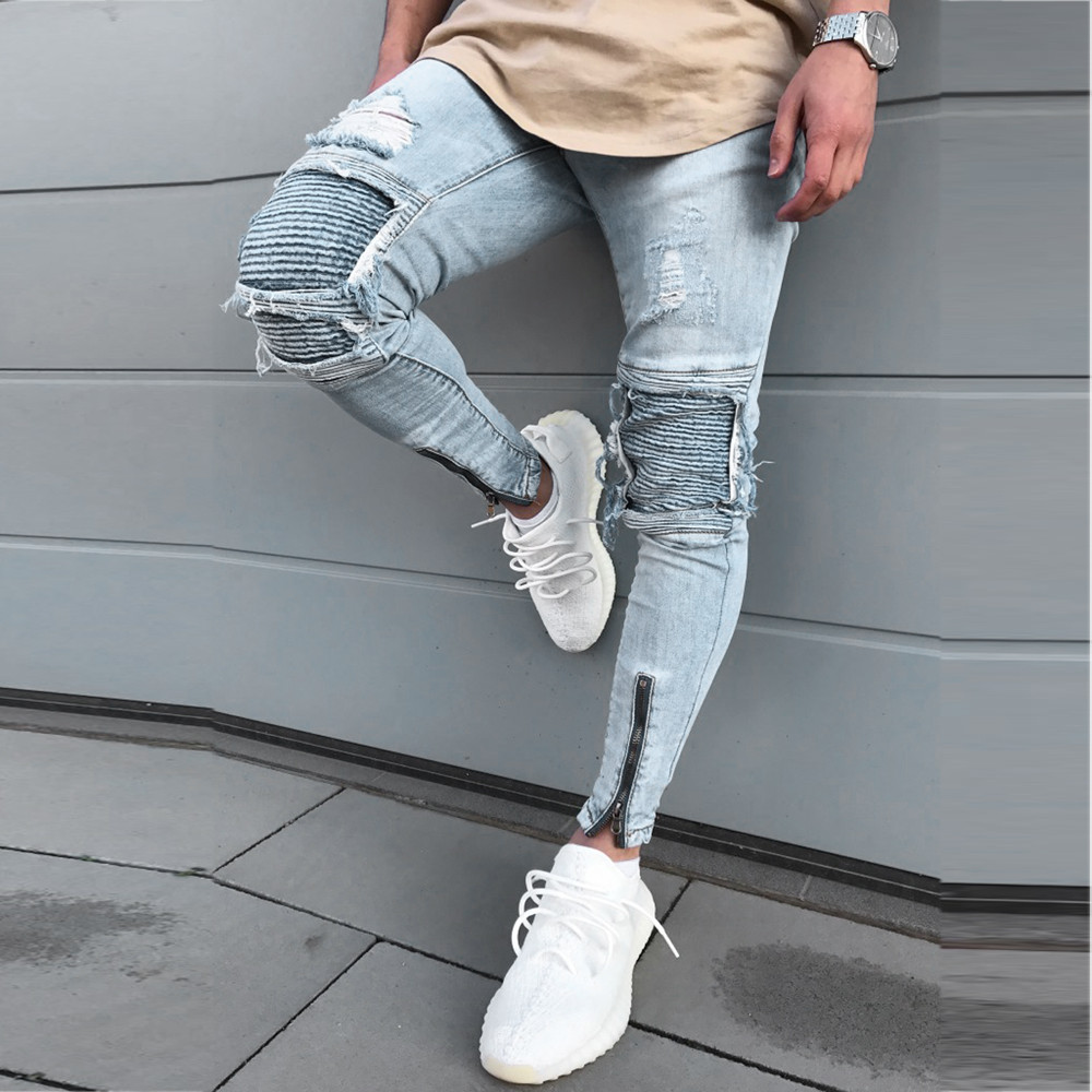 2019 NEW Men   Jeans   Men's Ripped Slim Fit Straight Zipper Denim Pants Vintage Style Motorcycle with Broken Holes 3.21